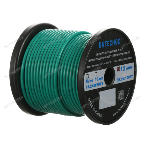 12 Gauge Silicone Wire Spool Green 100 feet Ultra Flexible High Temp 200 deg C