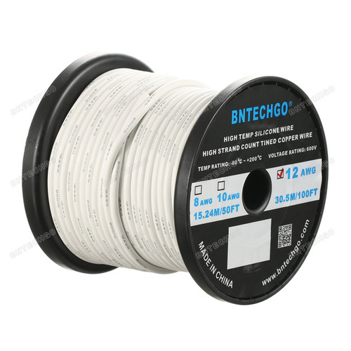 12 Gauge Silicone Wire Spool White 100 feet Ultra Flexible