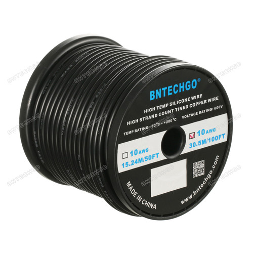 10 Gauge Silicone Wire Spool Black 100 feet Ultra Flexible