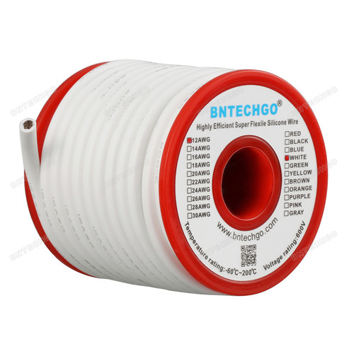 12 Gauge Silicone Wire Spool White 25 feet Ultra Flexible