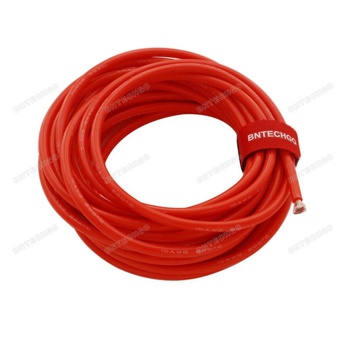 BNTECHGO 10 Gauge Ultra Flexible Silicone Rubber Wire 20 ft Red