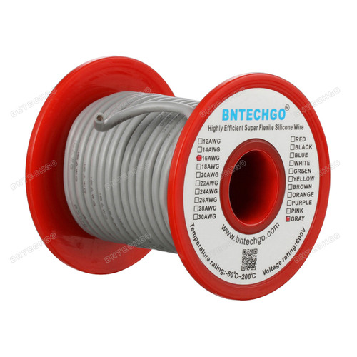 16 Gauge Silicone Wire Spool Gray 50 feet Ultra Flexible
