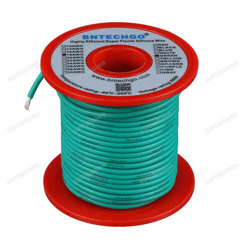 18 Gauge Silicone Wire Spool Green 100 feet Ultra Flexible