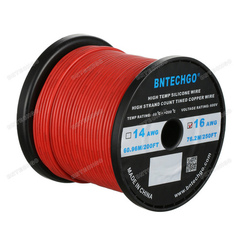 16 Gauge Silicone Wire Spool Red 250 feet Ultra Flexible