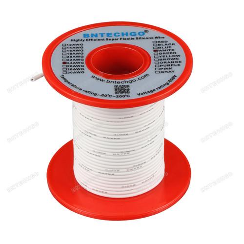 24 Gauge Silicone Wire Spool White 100 feet Ultra Flexible
