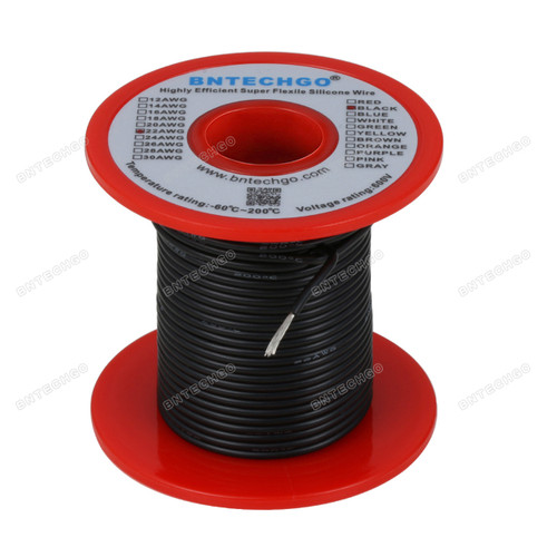 22 Gauge Silicone Wire Spool Black 100 feet Ultra Flexible