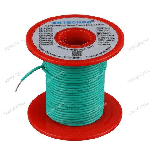 22 Gauge Silicone Wire Spool Green 100 feet Ultra Flexible