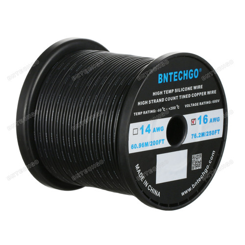 16 Gauge Silicone Wire Spool Black 250 feet Ultra Flexible