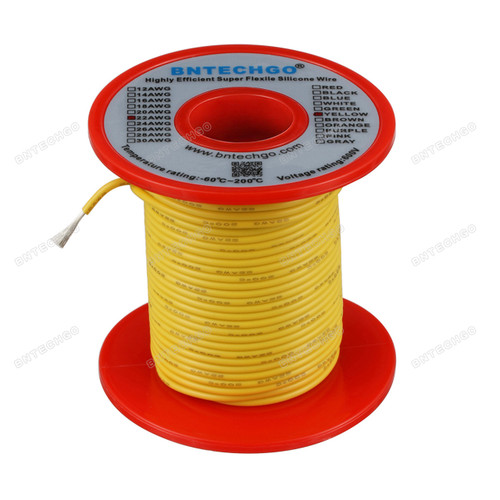22 Gauge Silicone Wire Spool Yellow 100 feet Ultra Flexible