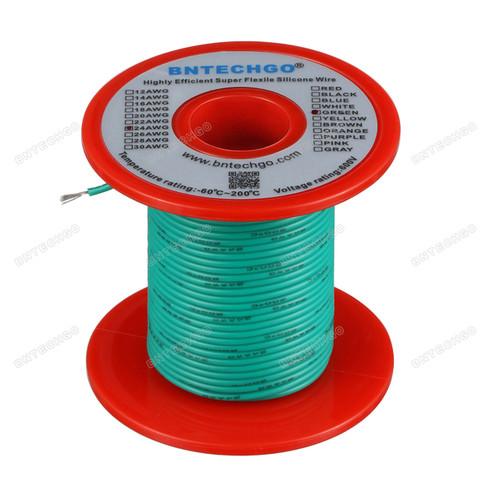 24 Gauge Silicone Wire Spool Green 100 feet Ultra Flexible