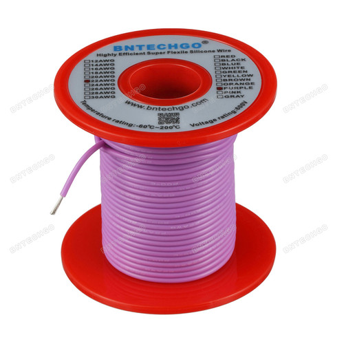 22 Gauge Silicone Wire Spool Purple 100 feet Ultra Flexible