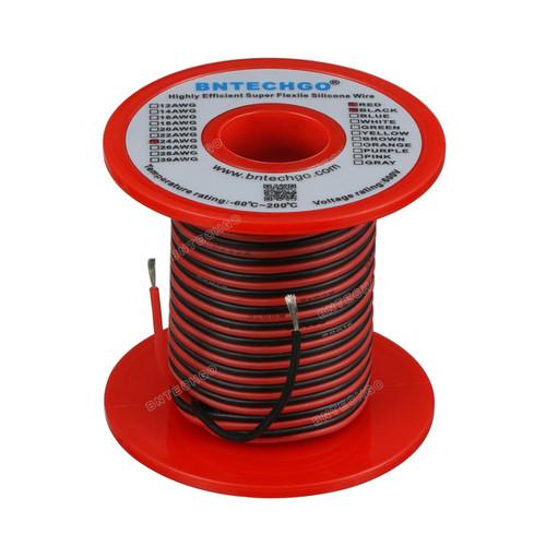 24 Gauge Silicone Wire Spool 100 feet Ultra Flexible High Temp 200 deg C