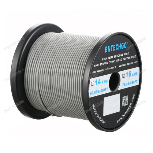 16 Gauge Silicone Wire Spool Gray 250 feet Ultra Flexible