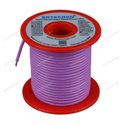 18 Gauge Silicone Wire Spool Purple 100 feet Ultra Flexible