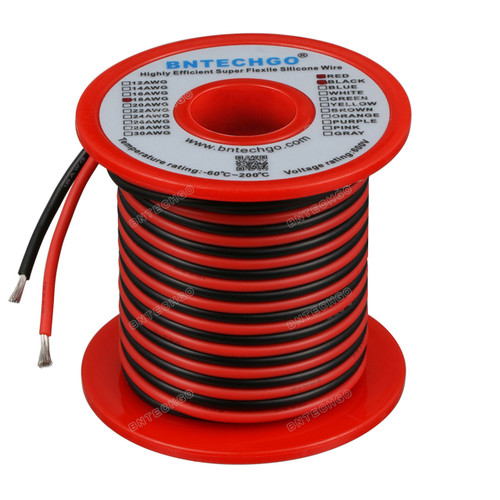 18 Gauge Silicone Wire Spool 100 feet Ultra Flexible