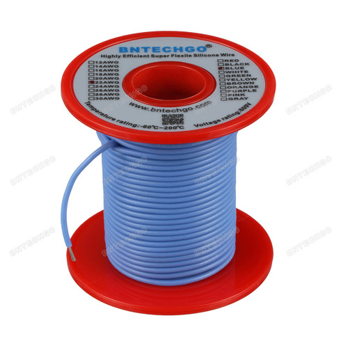 22 Gauge Silicone Wire Spool Blue 100 feet Ultra Flexible