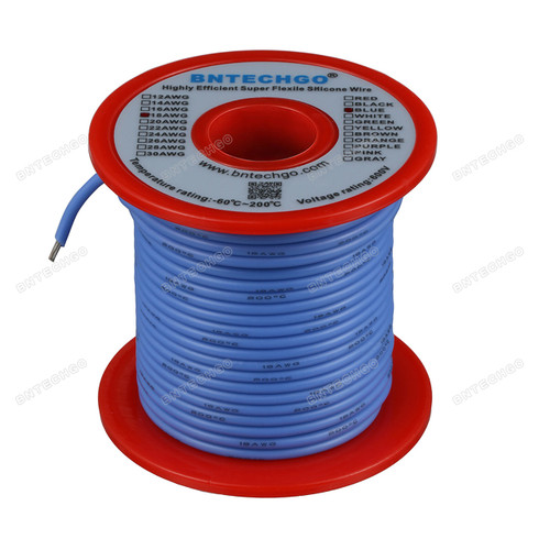18 Gauge Silicone Wire Spool Blue 100 feet Ultra Flexible