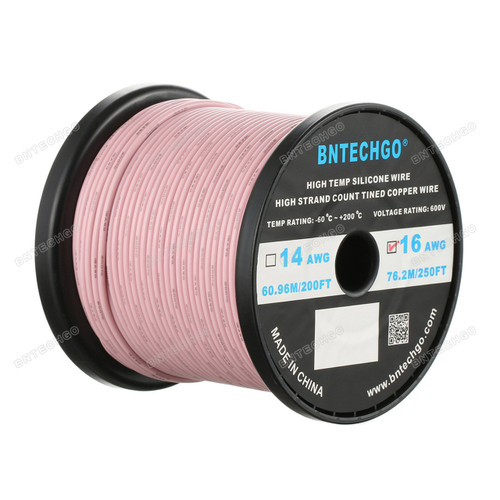 16 Gauge Silicone Wire Spool Pink 250 feet Ultra Flexible