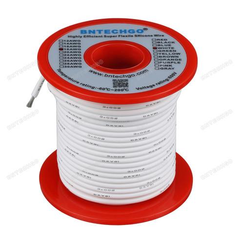 18 Gauge Silicone Wire Spool White 100 feet Ultra Flexible