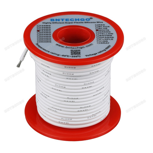 18 Gauge Silicone Wire Spool White 100 feet Ultra Flexible