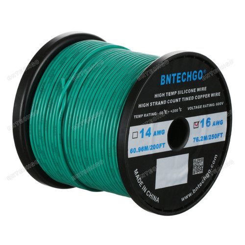 16 Gauge Silicone Wire Spool Green 250 feet Ultra Flexible