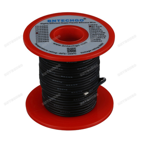 20 Gauge Silicone Wire Spool Black 100 feet Ultra Flexible