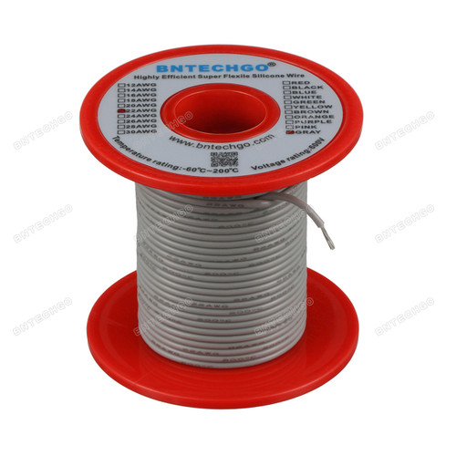 22 Gauge Silicone Wire Spool Gray 100 feet Ultra Flexible