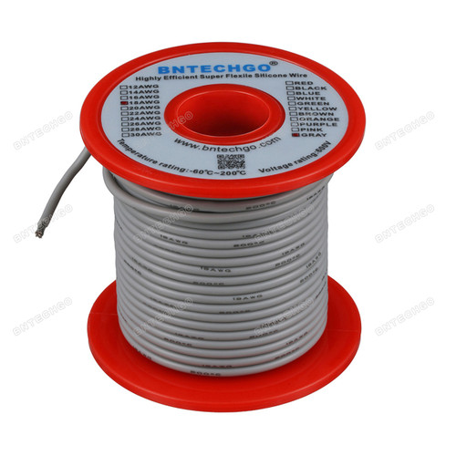 18 Gauge Silicone Wire Spool Gray 100 feet Ultra Flexible