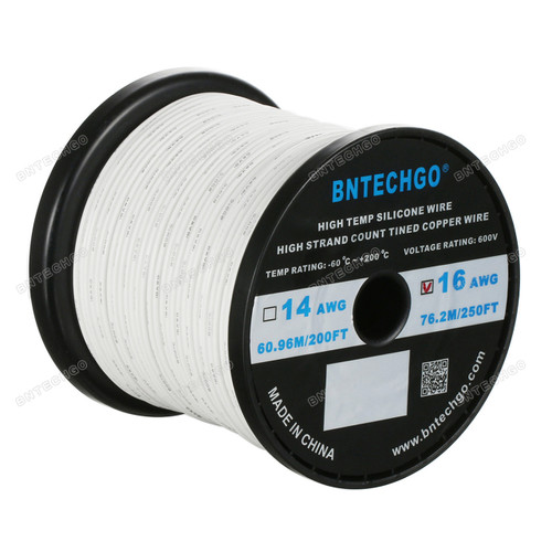 16 Gauge Silicone Wire Spool White 250 feet Ultra Flexible
