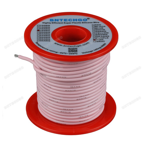 18 Gauge Silicone Wire Spool Pink 100 feet Ultra Flexible