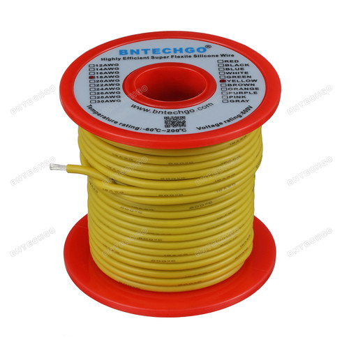 18 Gauge Silicone Wire Spool Yellow 100 feet Ultra Flexible