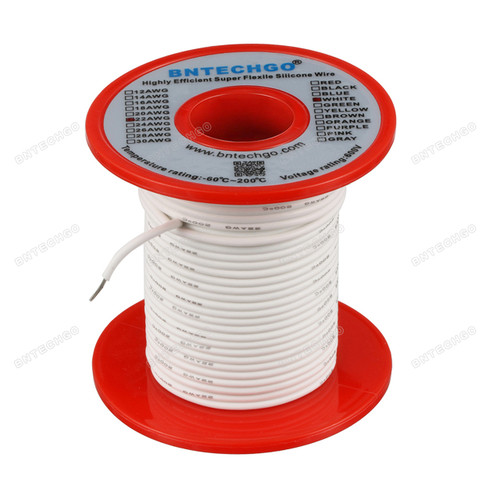 22 Gauge Silicone Wire Spool White 100 feet Ultra Flexible