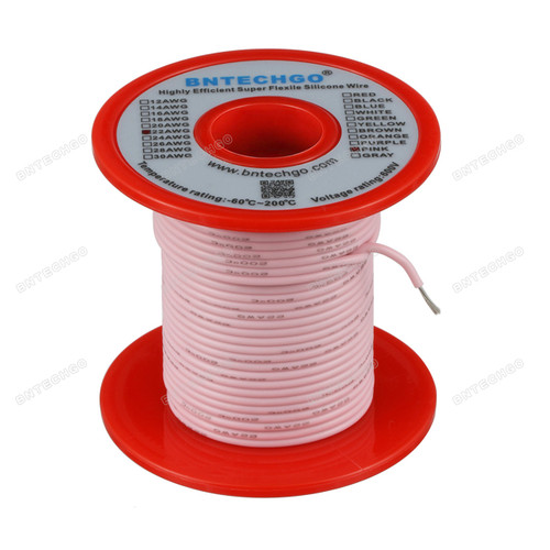 22 Gauge Silicone Wire Spool Pink 100 feet Ultra Flexible