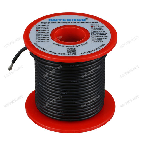 18 Gauge Silicone Wire Spool Black 100 feet Ultra Flexible