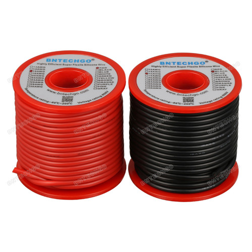 16 Gauge Silicone Wire Spool 50 ft Black and 50 ft Red