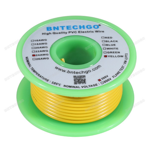 BNTECHGO 24 AWG 1007 Electric wire 300V Stranded Tinned Copper Wire Yellow 25 ft Per Reel For DIY