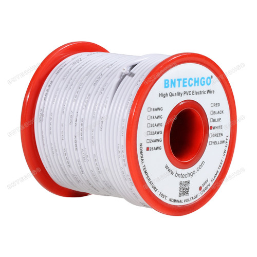 BNTECHGO 26 AWG 1007 Electric wire 300V Stranded Tinned Copper Wire White 100 ft Per Reel For DIY