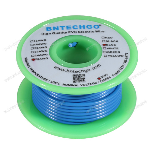 BNTECHGO 26 AWG 1007 Electric wire Hook Up Wire Stranded Tinned Copper Wire Blue 25 ft Per Reel For DIY
