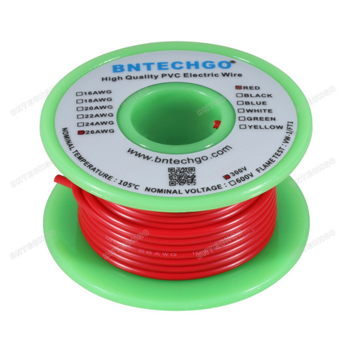 BNTECHGO 26 AWG 1007 Electric wire 300V Stranded Tinned Copper Wire Red 50 ft Per Reel For DIY