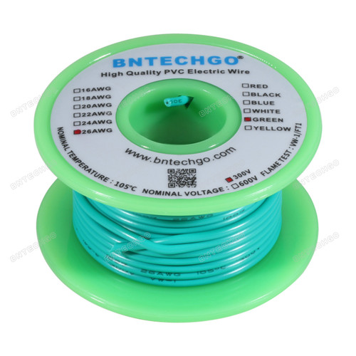 BNTECHGO 26 AWG 1007 Electric wire Stranded Tinned Copper Wire Green 50 ft Per Reel For DIY