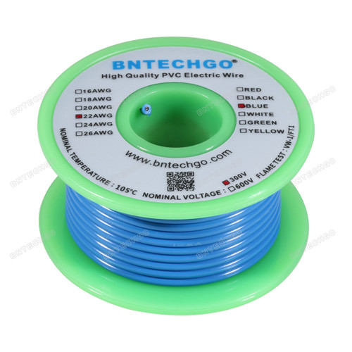 22 Gauge PVC 1007 Wire Solid Wire Hook Up Wire Solid Tinned Copper Wire Blue 25 ft Per Reel For DIY