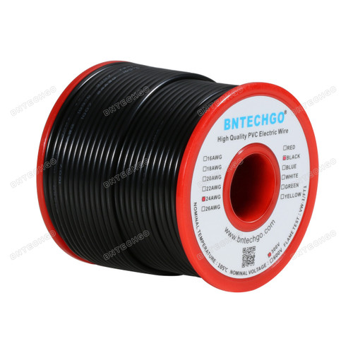 BNTECHGO 24 AWG 1007 Electric wire 300V Stranded Tinned Copper Wire Black 100 ft Per Reel For DIY