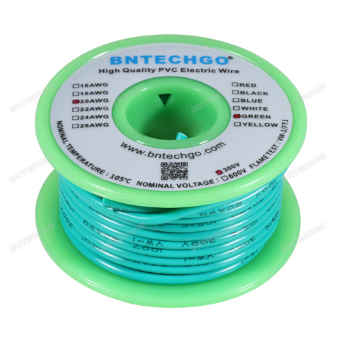 BNTECHGO 20 AWG 1007 Electric wire Green 25 ft Per Reel For DIY