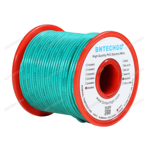 BNTECHGO 26 AWG 1007 Electric wire Stranded Tinned Copper Wire Green 100 ft Per Reel For DIY