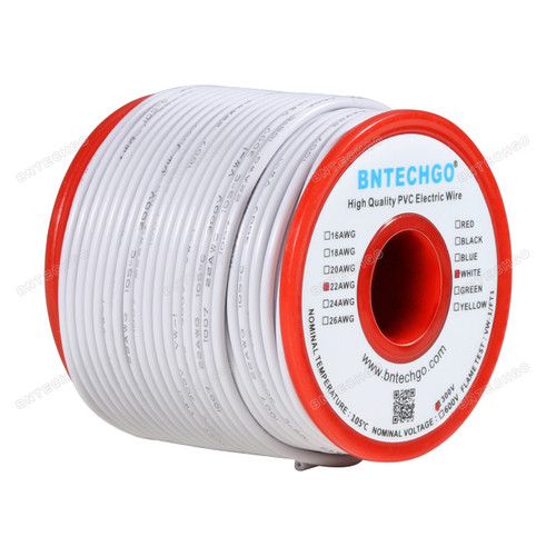 BNTECHGO 22 AWG 1007 Electric wire Solid Tinned Copper Wire White 100 ft Per Reel For DIY