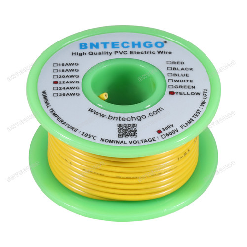 BNTECHGO 22 AWG 1007 Electric wire Solid Tinned Copper Wire Yellow 25 ft Per Reel For DIY