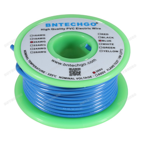BNTECHGO 20 AWG 1007 Electric wire Blue 25 ft Per Reel For DIY