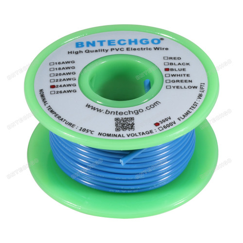 BNTECHGO 24 AWG 1007 Electric wire 300V Stranded Tinned Copper Wire Blue 50 ft Per Reel For DIY