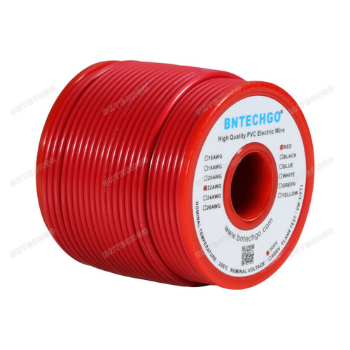 BNTECHGO 22 AWG 1007 Electric wire Solid Tinned Copper Wire Red 100 ft Per Reel For DIY