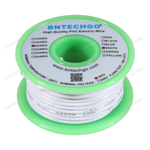BNTECHGO 20 AWG 1007 Electric wire White 25 ft Per Reel For DIY